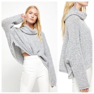 Free People BFF Cowl Neck Sweater Heather Gray XL